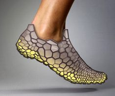 the designers at Pensar wish to create footwear conforming to our individual anatomy and using biomechanics as the foundation. The DNA concept leverages rapid manufacturing to create a shoe built to our foot contours. Pressure sensors and accelerometers fitted trainers are taken for a run and then based upon the data collected, the 3D printed shoe is created!
