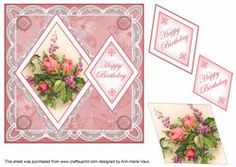 Rose Bouquet Happy Birthday 7in Double Diamond Topper