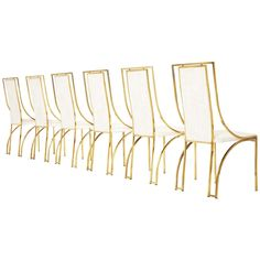 1stdibs.com | Set of 6 high back brass chairs