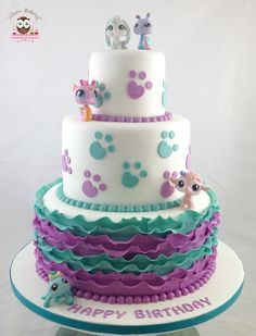 Little Pet Shop Cake, Paw Print Cake, Ruffle Cake, Cat Cake, Dog Cake
