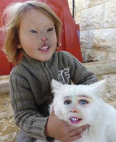 A girl and a cat: | The 35 Most Disturbing Face Swaps Of All Time