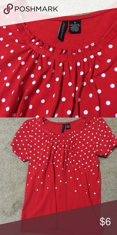 Retro polka dot top Used, good condition. No stains or tears. Retro polka dots, looks cute with some high waisted shorts or jeans. Size says small but fits like a medium. From a pet free and smoke free home. ModCloth Tops Tees - Short Sleeve