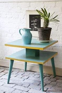 This groovy 1960s side table from Heals was simply painted in Provence on the shelves and legs, with the edges painted in Arles, then all was finished with Annie Sloan Lacquer.
