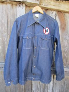 Blue Denim Jacket w/ Buick Patch by Cap'n Jac, Men's M-L // Vintage Action Advertising Jacket Denim Button Up, Button Up Shirts, Buick, Blue Denim, Im Not Perfect, Advertising, Action, Lady, Sleeves