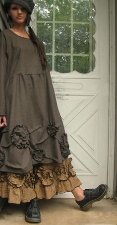Brown Wool Scrunches and Flowers Tunic by sarahclemensclothing, $149.00