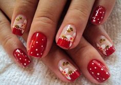 Christmas Nails Designs on Red Polish and Red French Tips Red Nail Designs, Simple Nail Designs, Mani Pedi, Pedicure, Cute Nails, Pretty Nails, Geometric Nail, Flower Nails, Cookies Et Biscuits