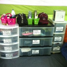 Organized Camping! Use labeled plastic dressers instead of the usual duffle bags. Fits nicely in the tent and you can use the tops as shelves or counter space. Car Camping / Family Camping ideas