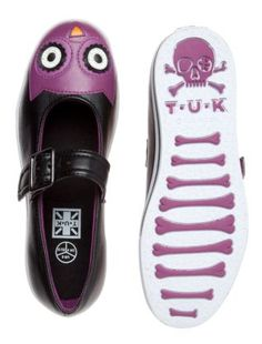 Black and Purple Owl Face Pumps
