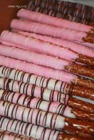 love these. Going to do them for the dessert table.  Baby shower idea Pretzel sticks delicious....chocalate ones too, white and dark...make very good ones. Or maybe valentines