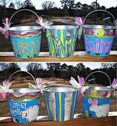 Personalized EASTER Pails Buckets by TheWaywardWhimsy on Etsy, $15.00