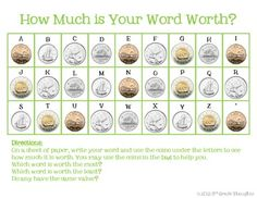 Math + Spelling= How Much is Your Word Worth? Money Activities, Money Games, Money Worksheets, Worksheets For Kids, 1st Grade Math, Grade 2, Third Grade, Math Stations, Math Centers