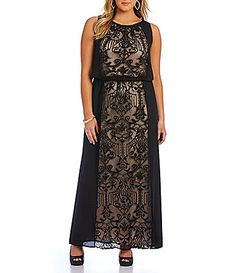 London Times Plus Lace Blouson Maxi Dress #Dillards