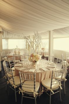 reception decor.... except all in white, no branches in the middle, and outside in the grass