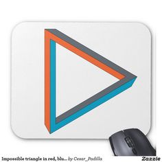 Impossible triangle in red, blue and gray. mouse pad. #Geek #Nerd