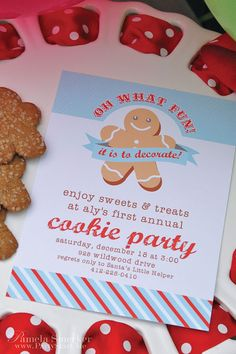 Oh What Fun -  Christmas 2011 Holiday Collection - Retro Kids Cookie Decorating Party Invitation