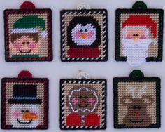 snowman plastic canvas pattern | Plastic Canvas-Whimsy Christmas Ornaments Plastic-Canvas-Kits.Com