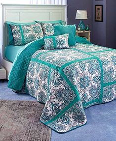 The Lakeside Collection Istanbul King Quilt Set Teal Best Quilted Comforter, Set USA Gold Bedroom, Bedroom Sets, Bedroom Decor, Bedrooms, King Quilt Sets, King Bedding Sets, Comforter Set, Queen Quilt, Teal Bedspread