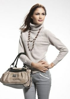 Cashmere Fashion Turtleneck Pullover With Crystal, Fancy Knit