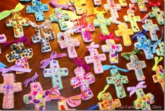 salt dough crosses: decorate with pearls, make hole for hanging, bake in oven (I'm going to try the slowcooker with wax paper), glaze with ModgePodge, add ribbon to hang. And tell the story of the Cross while creating :)