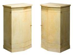 Marcel COARD (1889-1975)  Paire de meubles de rangement, gainés de parchemin, à façade géométrique. Les deux portes s'ouvrent sur des intérieurs en chêne, aménagés d'étagères et d'une rangée de sept tiroirs. Réalisés en 1942 100,5 x 53 x 43 cm Provenance: Famille R.G. (Facture d'origine datée du 24 avril 1942)