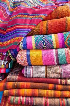 Great Boho Mexican blankets.