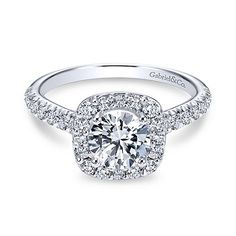 Gabriel 14K WG Engagement Ring Mounting For 1 Ct Round Diamond W/ A Cushion W/ 7 Pave Set Round Diamonds On Each Side .55TW Style# ER6872W44JJ Contact us for more info!