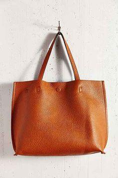 Reversable Vegan Leather Tote Bag