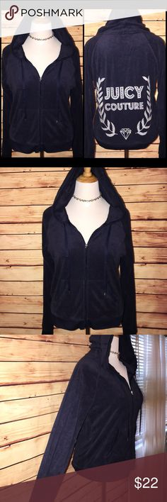 Juicy Couture Navy Velour Silver Shimmer Hoodie Super cute, comfy and stylish navy velour full zip hoodie with silver shimmer bling crest emblem on back. Excellent quality and condition. Check out my other listings to bundle and save! Juicy Couture Tops Sweatshirts & Hoodies