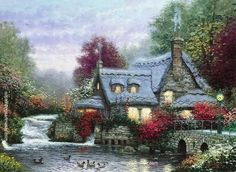 Thomas Kinkade The Miller's Cottage, Thomashire Painting for sale, painting Authorized official website