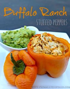 Healthy Buffalo Ranch Stuffed Peppers www.primallyinspired.com