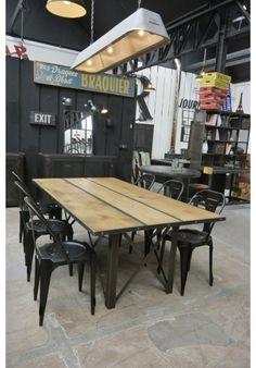 table de salle manger industrielle extensible salle a manger pinterest table. Black Bedroom Furniture Sets. Home Design Ideas