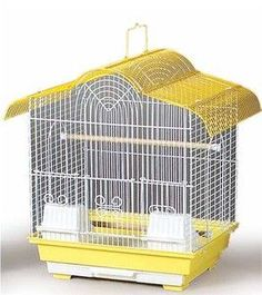This canary cage features a removable bottom grille and pull-out drawer for easy cleaning. Includes 2 plastic cups, 2 wood perches and is designed for parakeets, canaries and other small birds. Featur
