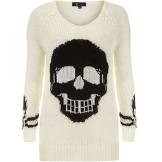 Cutie:Cutie White black skull jumper ($27) ❤ liked on Polyvore featuring tops, sweaters, shirts, jumpers, long sleeves, skulls, white, long shirts, black and white shirt and long sleeve tops