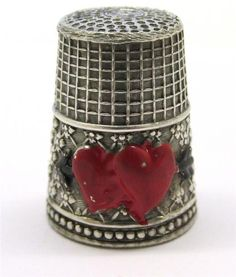 Vintage Sterling Silver Thimble with Red Enamel Accent Hearts