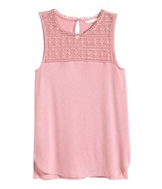 Pink sleeveless top with lace panel, back opening, and side slits. | H&M Pastels
