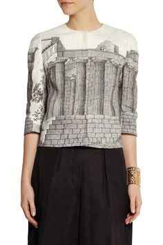 Dolce & GabbanaTemple-print linen jacket