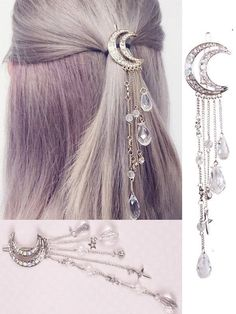 Mondkristall Quasten Haarspangen - Pinces à cheveux en cristal de bouche # cheveux You are in the rig - Cute Jewelry, Hair Jewelry, Jewelry Accessories, Jewelry Design, Moon Jewelry, Witch Jewelry, Tassel Jewelry, Simple Jewelry, Pandora Jewelry