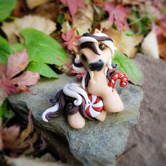 Christmas Peppermint candy Cane Fjord Filly By Whisper Fillies Whisperfillies.etsy.com Unique handmade polymer clay horse, pony, unicorn and fantasy creatures  Find me on Instagram and Facebook too!