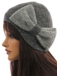 Cute artsy hat cap hat boiled wool in grey with bow - Artikeldetailansicht - CLASSYDRESS Lagenlook Art to Wear Women's Clothing