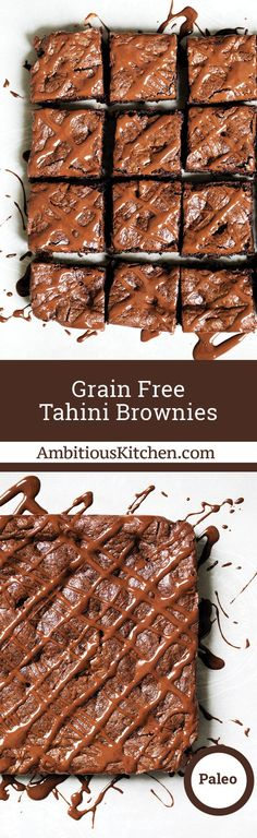 The best brownies I've ever eaten: tahini brownies. No butter, flour, oil or refined sugar. These paleo, gluten free and grain free brownies are incredible! paleo dessert no nuts Paleo Dessert, Healthy Dessert Recipes, Gluten Free Desserts, Baking Recipes, Delicious Desserts, Free Recipes, Protein Desserts, Thm Recipes, Kitchen Recipes
