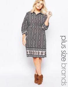 Image 1 of Diya Plus Shirt Dress In kaleidoscope Print