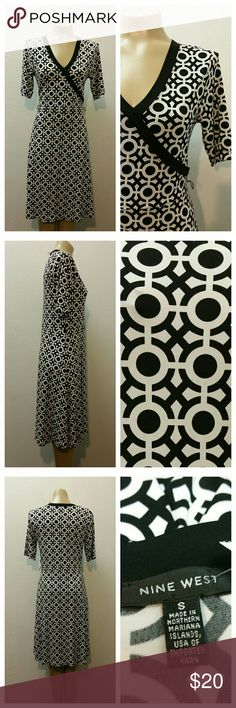 "Graphic Print Dress by Nine West, Black/White Cute Graphic Print Dress Short sleeves Stretch Fabric Faux Wrap  Empire Waist  Nine West - Small  Measurements:  32"" Bust 31"" Waist 36"" Hips  There is stretch  condition:  Very Good Nine West Dresses Midi"