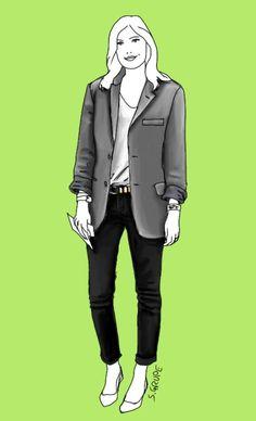 Mit dem magischen Mode-Dreieck aus Jeans, T-Shirt und Blazer lassen sich auch Outfits fürs Büro zusammenstellen.