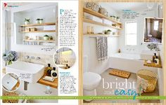 Nice colors and materials  Bright and easy!: Transform your bathroom into a calming sanctuary with a light, bright makeover that harnesses the natural beauty of bamboo – it's like a getaway in your own home! - clipped from pages 146, 147 of Better Homes and Gardens, Mar 2014 issue by the Netpage app.