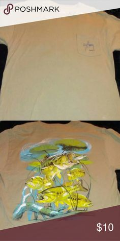 "Guy Harvey T Shirt Tan Colored, Pocket on Chest with ""Guy Harvey"" written in middle of pocket, fish picture on back in color, Short Sleeved T Shirt, NWOT Guy Harvey Shirts Tees - Short Sleeve"