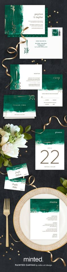 Add a hint of gold to your emerald green wedding to give it an elegant opulence. Painted Canvas Wedding Invitation and Reception Decor by Minted artist Robin Ott. Available now on http://Minted.com