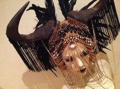 READY TO SHIP Zodiac Taurus Wildebeest horn feather headdress Futuristic rocker Cleopatra Egyptian Fantasy headdress headpeice wig. $429.00, via Etsy.