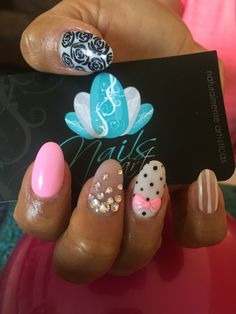 Acrílyc nails, nails art, pink nails