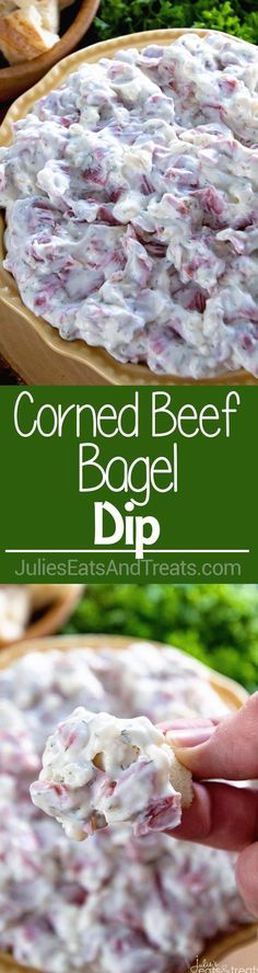 Corned Beef Bagel Dip ~ Quick and Easy Dip Perfect for Entertaining! Easy Appetizer to Serve When Hosting Your Next Party! via @julieseats