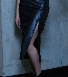 Bailey side slit leather pencil skirt flatters every woman's figure. Invisible zip closure at the back and fully lined. Lambskin Leather, S Models, Every Woman, Leather Skirt, Zip, Skirts, How To Wear, Women, Fashion
